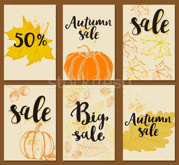 Outono venda conjunto vetor cartões sazonal Foto stock © Artspace