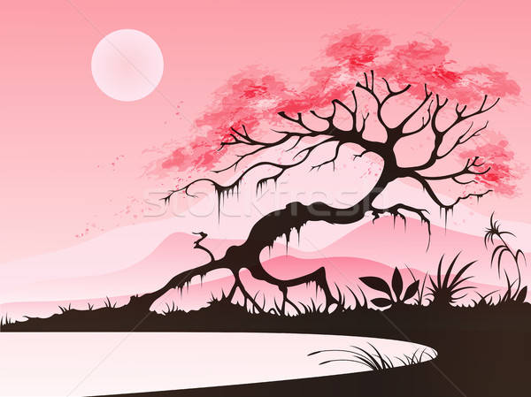 Landscape with cherry blossom Stock photo © Artspace