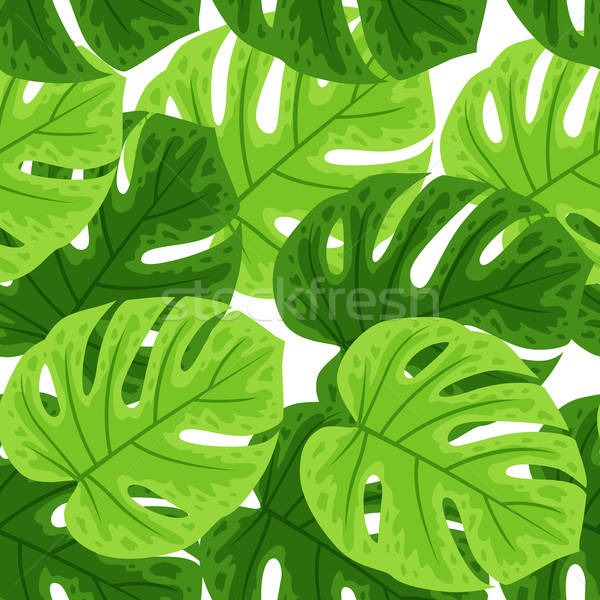 Stock photo: Seamless pattern with tropical leaves