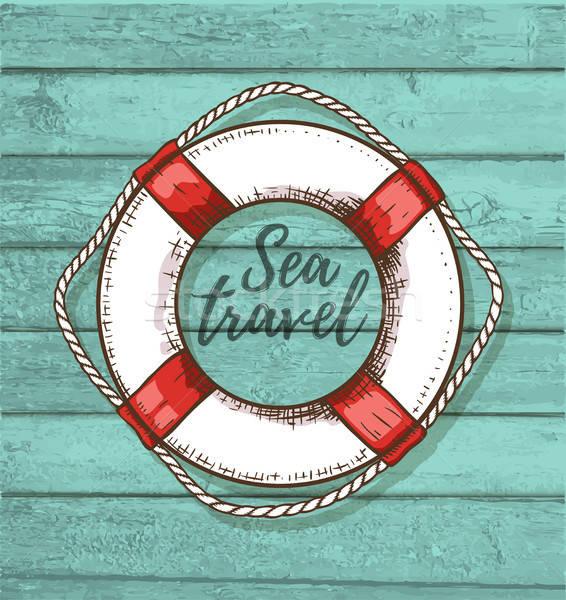 Travel background with lifebuoy Stock photo © Artspace