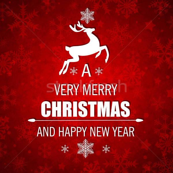Noel beyaz geyik dekoratif kırmızı vektör Stok fotoğraf © Artspace