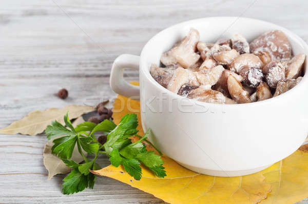 Mushrooms and green parsley Stock photo © Artspace