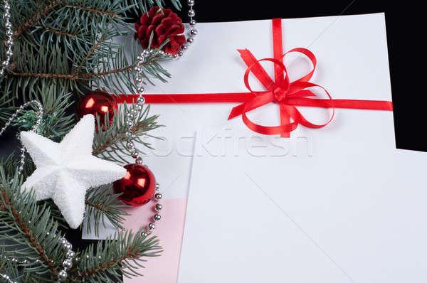 Fenyő ág kártya vörös szalag fekete tél Stock fotó © Artspace