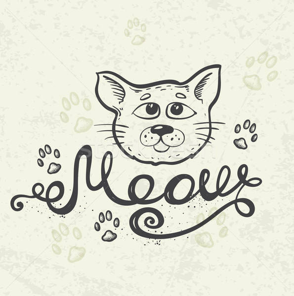 Cat and lettering 'Meow' Stock photo © Artspace