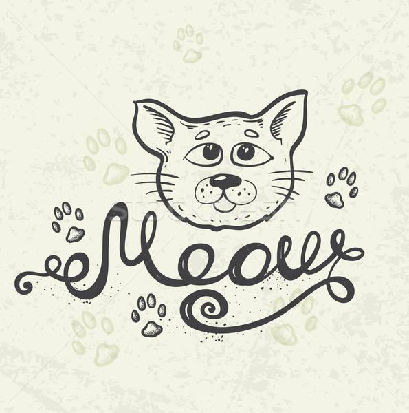 猫 ニャー 手描き 自然 印刷 ストックフォト © Artspace