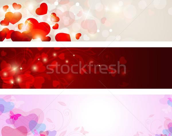 Valentine afişler vektör arka kalpler sevgililer günü Stok fotoğraf © Artspace