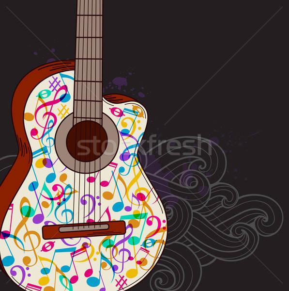 Zene gitár vektor absztrakt fekete háttér Stock fotó © Artspace