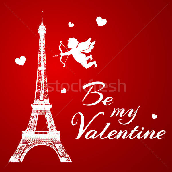 Tour Eiffel romantique saint valentin amour design ange Photo stock © Artspace
