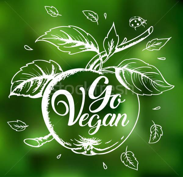 Maçã vegan verde turva vegetariano estilo de vida Foto stock © Artspace
