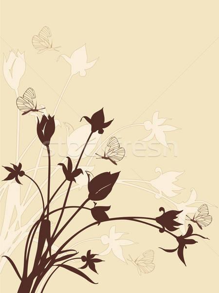 Сток-фото: аннотация · цветочный · тюльпаны · бабочки · бабочка · дизайна