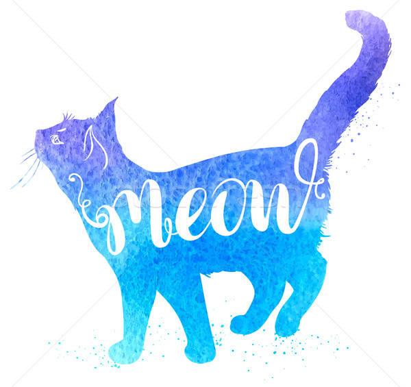 青 水彩画 猫 ニャー 手描き 自然 ストックフォト © Artspace