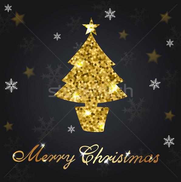 Golden glitter Weihnachtsbaum dekorativ Design Stock foto © Artspace
