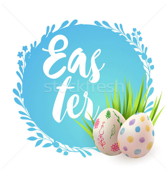 Blue Easter card with eggs Stock photo © Artspace