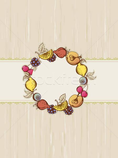 Klasszikus gyümölcs keret vektor bogyók gyümölcsök Stock fotó © Artspace