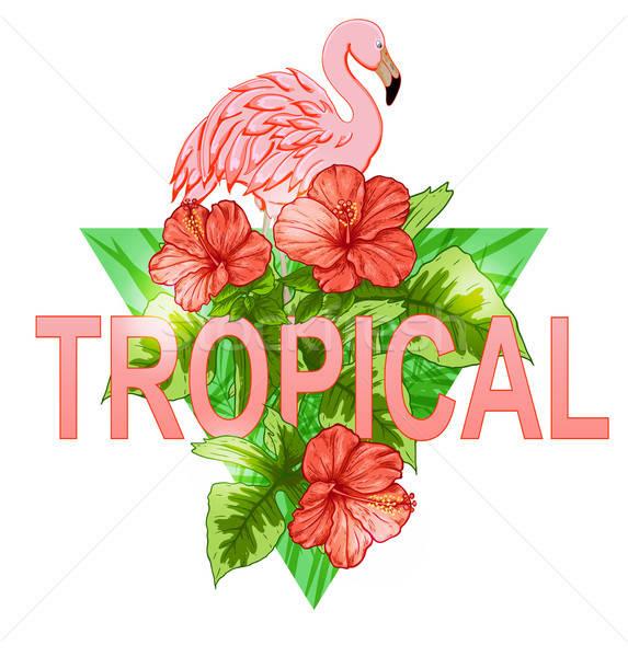 Trópusi szalag flamingó rózsaszín piros virágok Stock fotó © Artspace