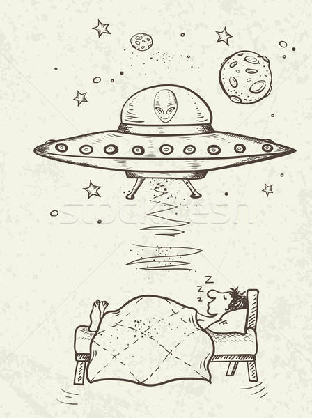UFO abducts a sleeping man Stock photo © Artspace