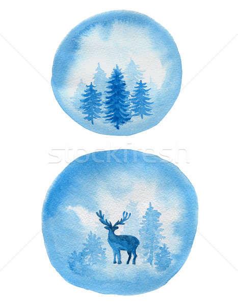 Karácsony hátterek szarvas dekoratív kék vízfesték Stock fotó © Artspace
