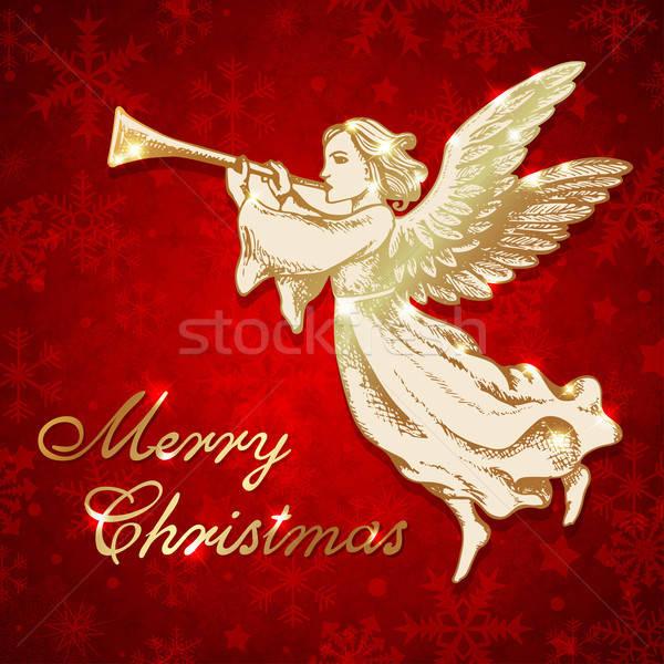 Dourado natal anjo trombeta vetor Foto stock © Artspace