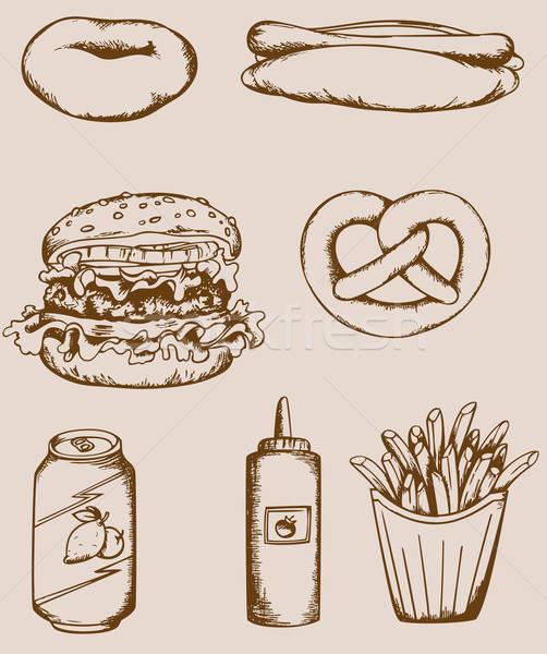 Fastfood vintage icons Stock photo © Artspace