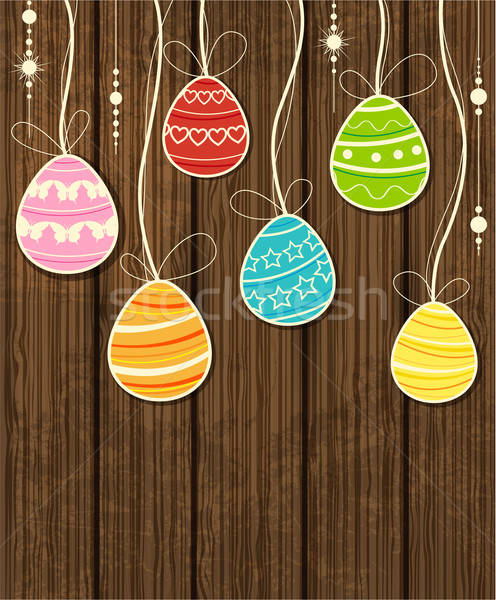 Wooden Easter background Stock photo © Artspace