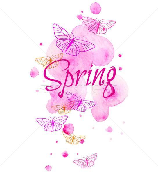 Resumen primavera rosa mariposa naturaleza fondo Foto stock © Artspace