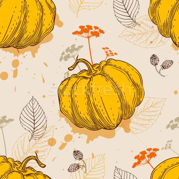 Patrón naranja calabaza hojas decorativo vector Foto stock © Artspace