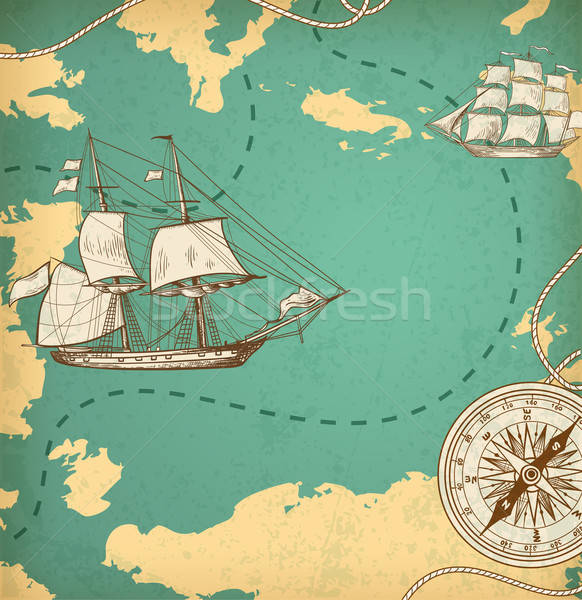 Ancient map with ships and compass Stock photo © Artspace