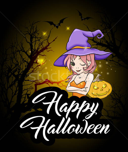 Halloween greeting card with witch Stock photo © Artspace