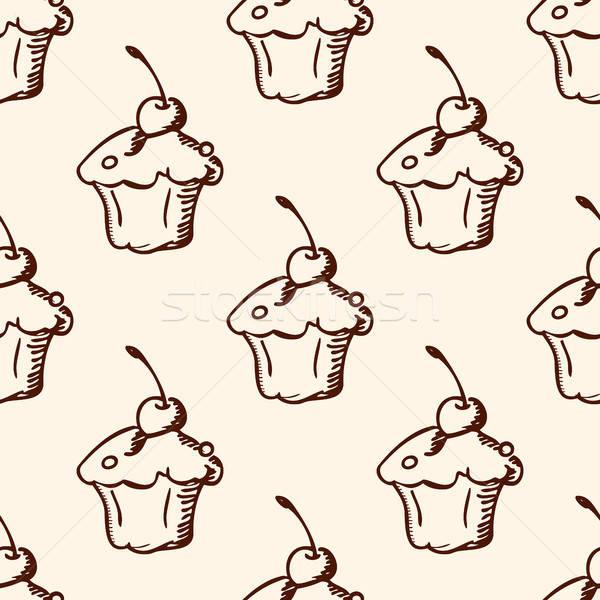 パターン 甘い フルーツケーキ ヴィンテージ 手描き ストックフォト © Artspace