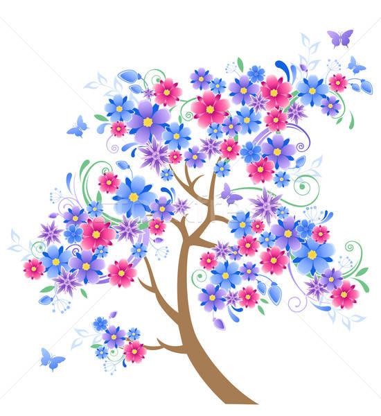 синий цветения дерево бабочки белый весны Сток-фото © Artspace