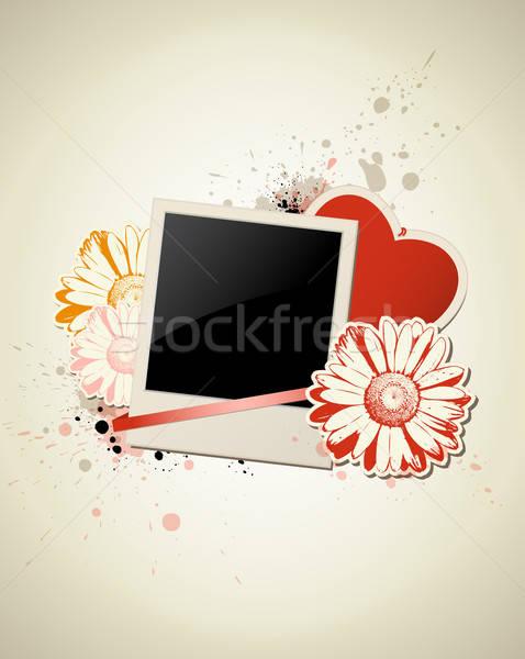 Foto stock: Photo · frame · coração · flor · grunge · dia · dos · namorados · amor