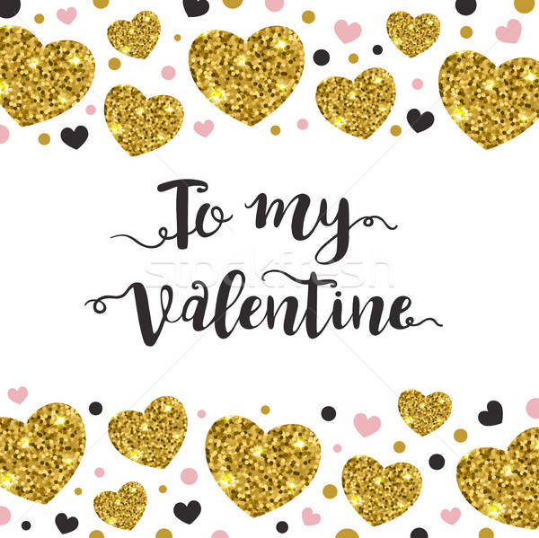 Valentine background with golden hearts Stock photo © Artspace