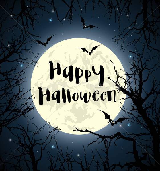 Stock photo: Halloween greeting card with full moon