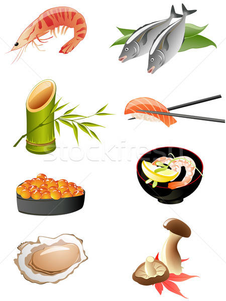 sushi and other traditional japanese food icons Stock photo © Artspace