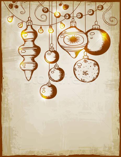 Klasszikus vektor karácsonyi üdvözlet díszítések fények fény Stock fotó © Artspace