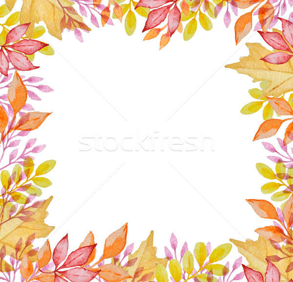 Watercolor frame with autumn leaves Stock photo © Artspace