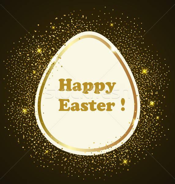 Lüks Paskalya altın yumurta tatil sarı festival Stok fotoğraf © Artspace