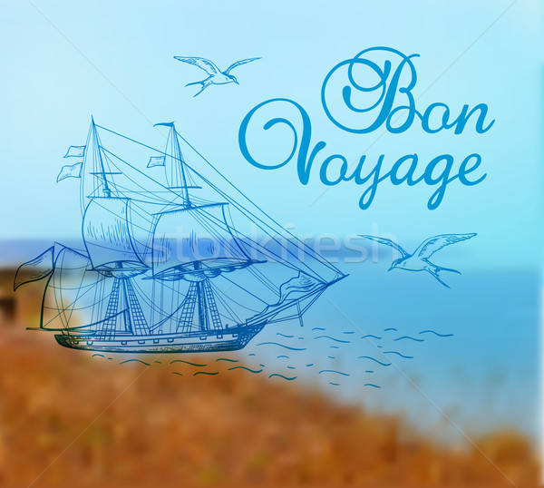 Summer background with ship Stock photo © Artspace