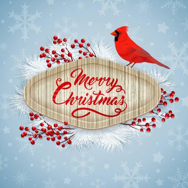 Christmas card with cardinal Stock photo © Artspace