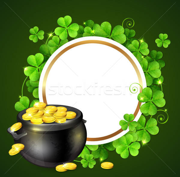 Pot of gold and clover leaves Stock photo © Artspace