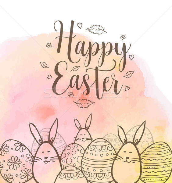 Easter greeting card with eggs and rabbits Stock photo © Artspace