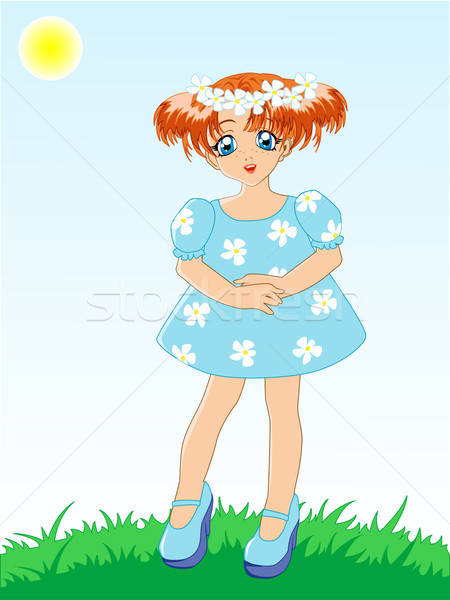 Stockfoto: Meisje · Blauw · jurk · bloem · baby · gelukkig