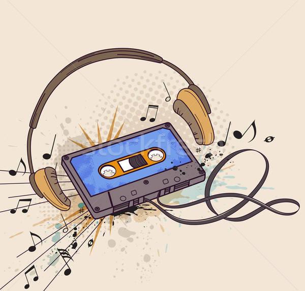 Audiocassette and headphones Stock photo © Artspace