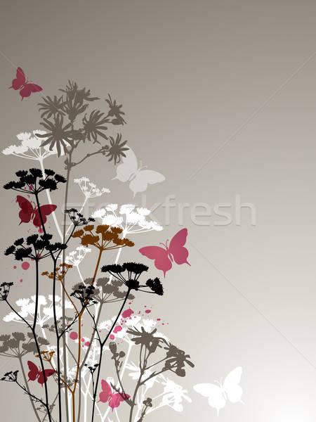 бабочки Полевые цветы декоративный вектора весны фон Сток-фото © Artspace