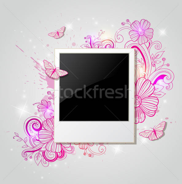 Background with photo and pink flowers Stock photo © Artspace