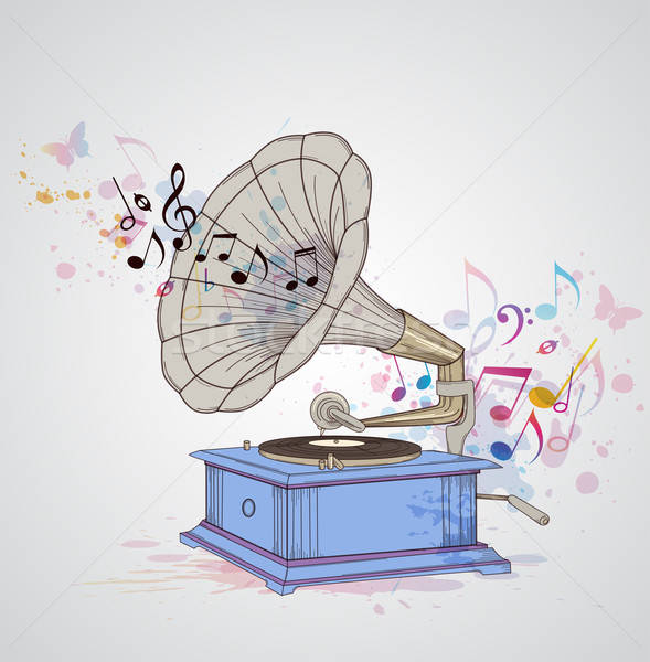 Music background with gramophone and notes.  Stock photo © Artspace
