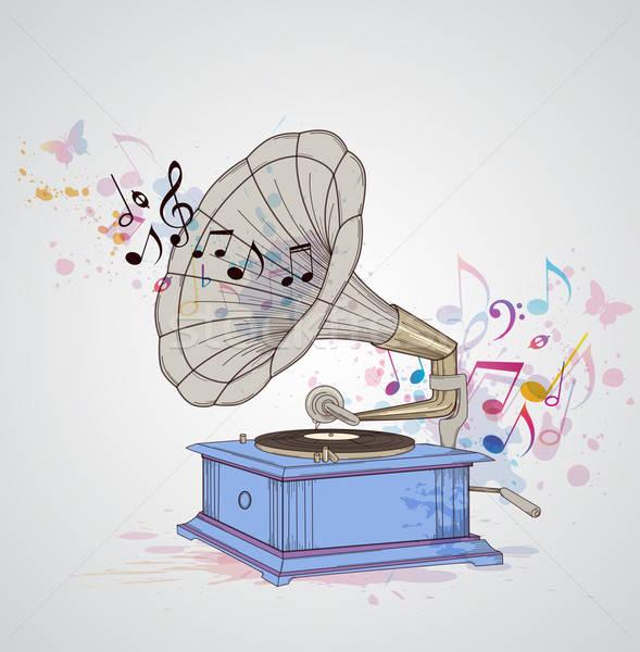 Müzik gramofon notlar Retro soyut arka plan Stok fotoğraf © Artspace