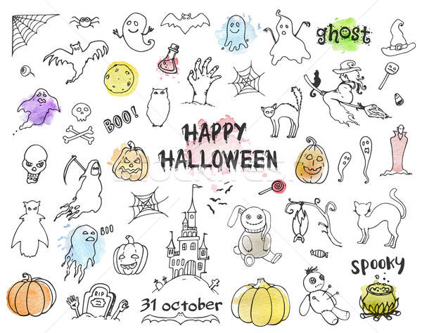 Set of Halloween doodles Stock photo © Artspace