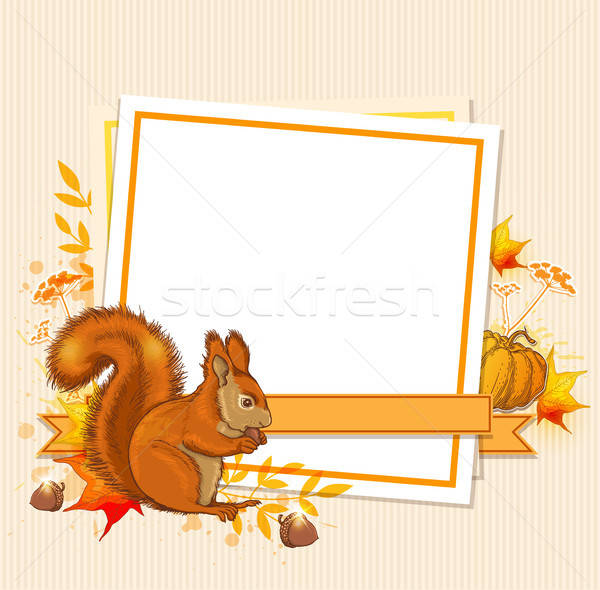 Autumn background with squirrel  Stock photo © Artspace