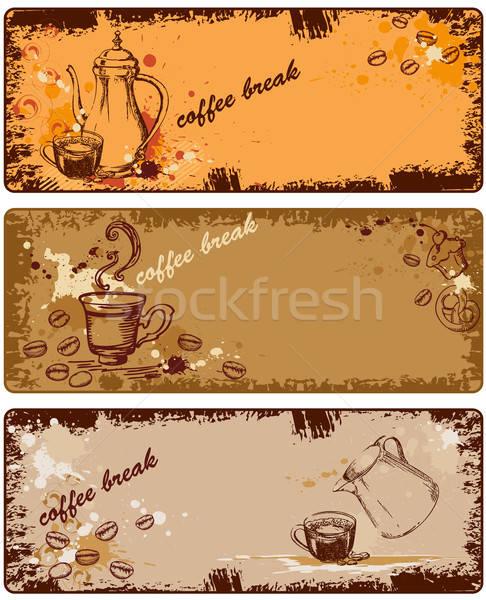 Stock fotó: Szett · kávé · bannerek · grunge · stílus · torta